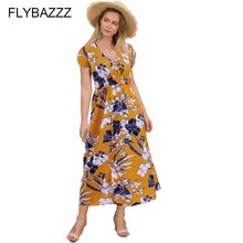 Women Sexy V Neck Bohemian Beach Dress Vintage Floral Print Dress Summer Button Pockets Split Dress Short Sleeve Long Sundress women 2019 summer polka dot vintage dress sexy deep v neck sleeveless party sundress elegant casual belt beach dress plus size