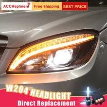 2 sztuk reflektory LED dla Benz W204 2007 2011 światła samochodowe LED Angel eyes xenon zestaw hid światła przeciwmgielne LED światła dzienne