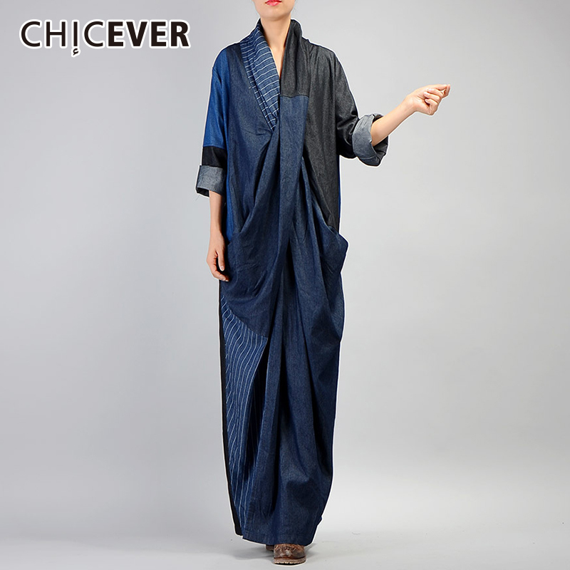 CHICEVER 2019 Autumn Denim Dresses For Women Loose Oversize Long Sleeve Hem Split Two Pockets Dress