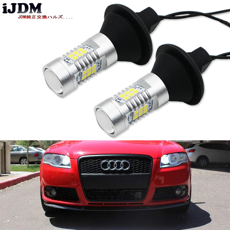 iJDM Error Free White 27-SMD 7506 LED Bulbs w/ Resistors For <font><b>Audi</b></font> B7 A3 A4 A6 <font><b>A8</b></font> Q7 S3 S4 S6 Daytime DRL Lights image