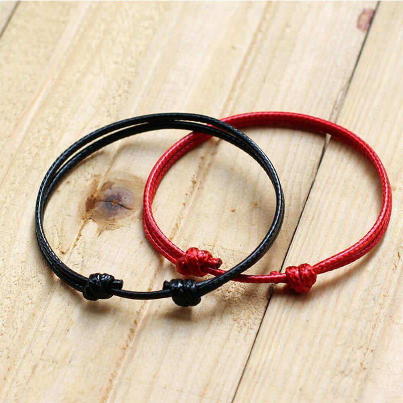 Hot Sale 2018 1PC Fashion Red Thread String Bracelet Lucky Red Black Handmade Rope Bracelet for Women Men Jewelry Lover Couple