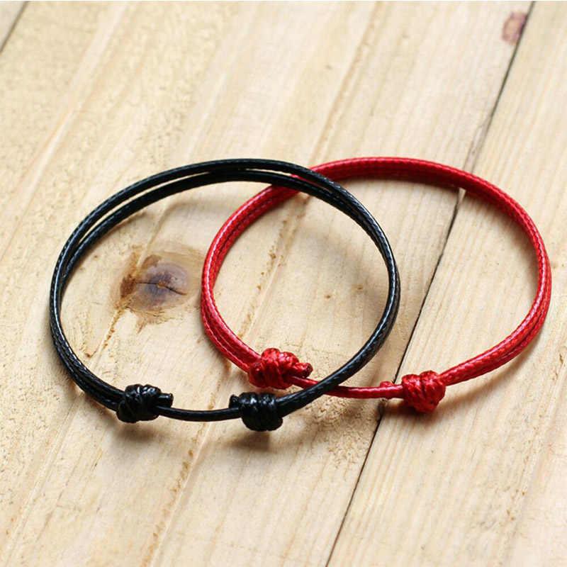 Gorąca sprzedaż 2018 1PC moda czerwona nić bransoletka sznurkowa szczęście czerwony czarny ręcznie robiona bransoletka na sznurku dla kobiet mężczyzn miłośnik biżuterii para