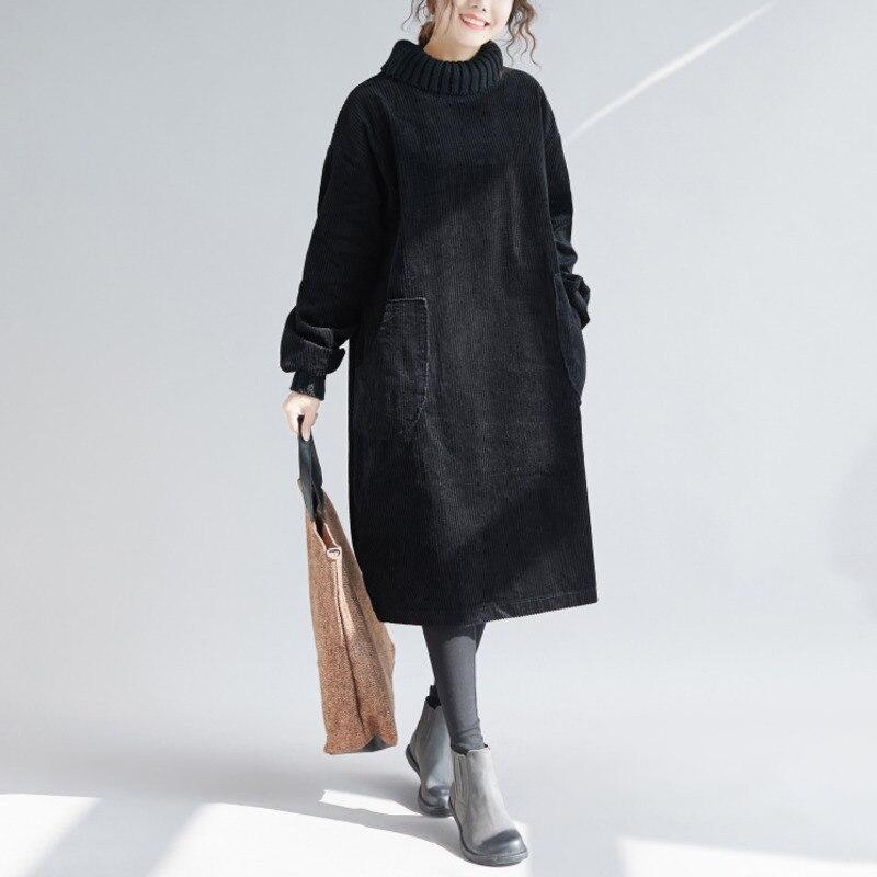 BUYKUD Solide En Velours Côtelé Robe Casual Hiver Solide Haute Col Roulé Lâche Style Robe Plus Taille Élastique Manchette Poches Femmes Robe