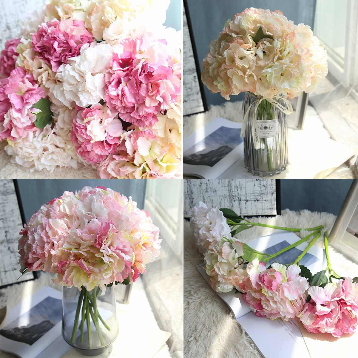 NEW Artificial Flower Ins Wedding Backdrops Desk Crafts Flowers Fake Silk Flowers Bridal Hydrangea for Party Home DIY Decoration