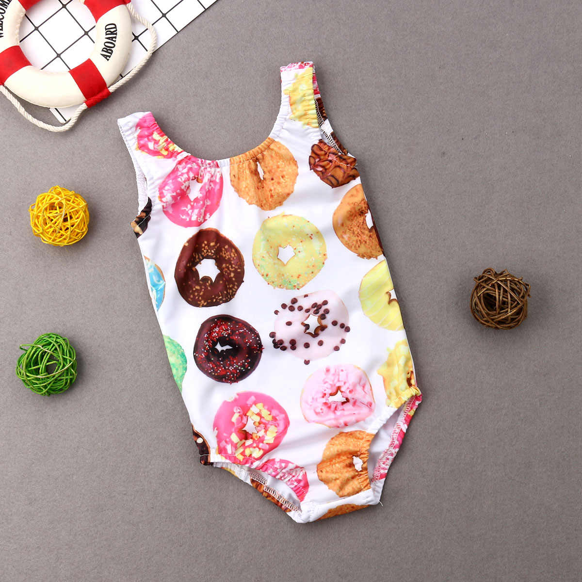 ddac37b6e5a8 ... Little Girls Donuts Printing One-piece Swimsuit Toddler Baby Kid Girl Cartoon  Swimsuits Swimwear Swimming