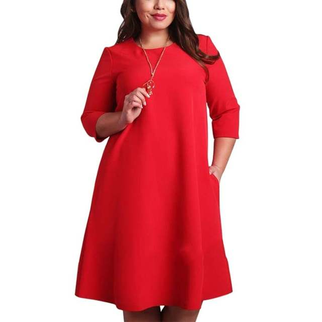 US $11.32 20% OFF|L 6XL Big Size Dresses Office Ladies Plus Size Casual  Loose Autumn Dress Pockets Green Red Fashion Dress Vestidos Women  Clothes-in ...