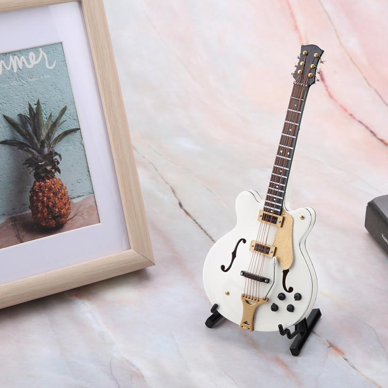 5.5in Réplica Em Miniatura Branco Guitarra Elétrica com Caixa de Ferramentas Instrumento Modelo Ornamento Presente de Natal Mais Novo Estatuetas Para Casa