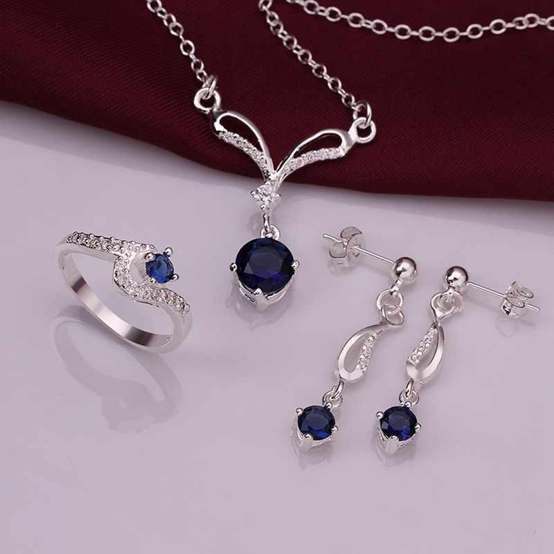 New 925 Sterling Silver Blue Crystal Geometry Earrings Rings Necklace Jewelry Gift for Women Sets