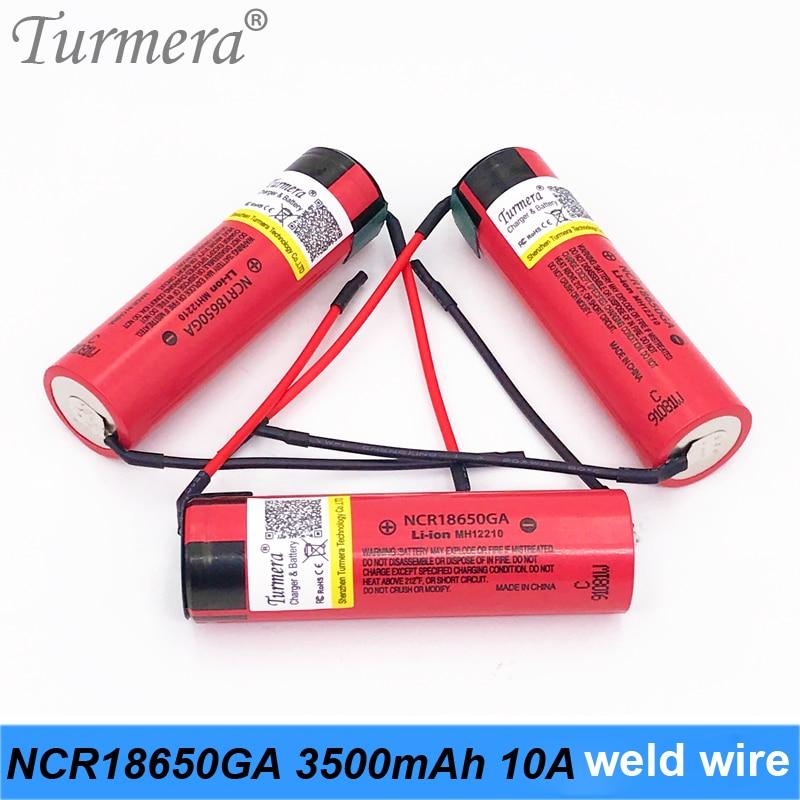 2019 Original 18650 Battery 3500mah NCR18650GA welding wire 10a 3.6V Battery for Panasoniic e-bike battery pack use turmera