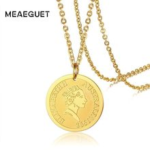 Elizabeth II Head Australia Coin Pendant for Women Stainless Steel Disc Necklace in Golden Gift for her(China)