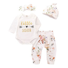 Newborn Baby Girl LITTLE sISTER Romper+Floral Legging Pants 4PCS Outfits Sets
