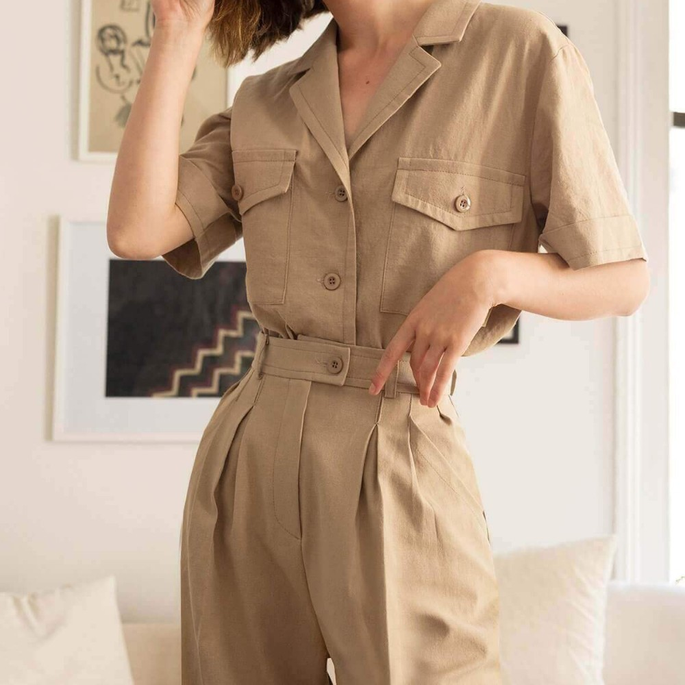 HDY HAODUOYI  New Women Pure Color Trousers Smart Handsome Overalls High-Waist Pants