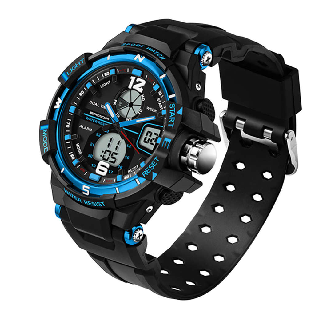Sanda Waterproof MenS Watch Digital Led Sports Watch MenS Watch Watch Black BlueSanda Waterproof MenS Watch Digital Led Sports Watch MenS Watch Watch Black Blue