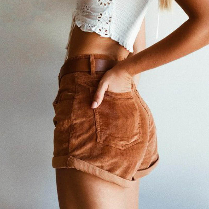 2019 Fashion Women High Waist Casual Shorts Female Streetwear Brown Loose Shorts Office Lady Summer Pocket Corduroy Shorts in Shorts from Women 39 s Clothing