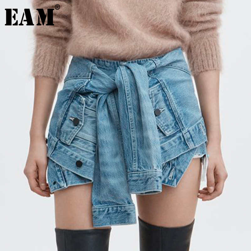 EAM 2019 Spring Summer Woman Light Blue Color High Tight Waist Lace up Pleated Furr
