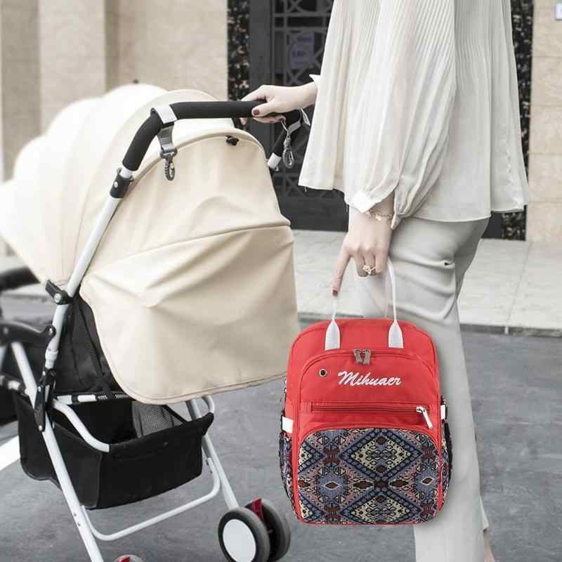 אתני נשים אמא אחסון פרחוני הדפסת תרמיל תינוק חיתול סיעוד תיק נסיעות תיק אמא תיק גדול קיבולת תרמיל