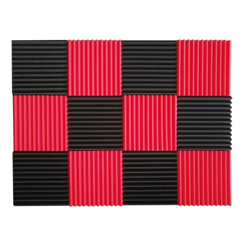 12 pces painéis acústicos de isolamento acústico espuma telhas sonoras studio foam cunhas de som 1 polegada x 12 polegada x 12 polegada preto + vermelho