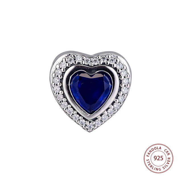 New Sparkling Love Charm 100% 925 Sterling Silver Clear CZ   Blue Crystal  Heart Beads Fits Original Bracelet DIY Jewelry Making fb2f0817696d