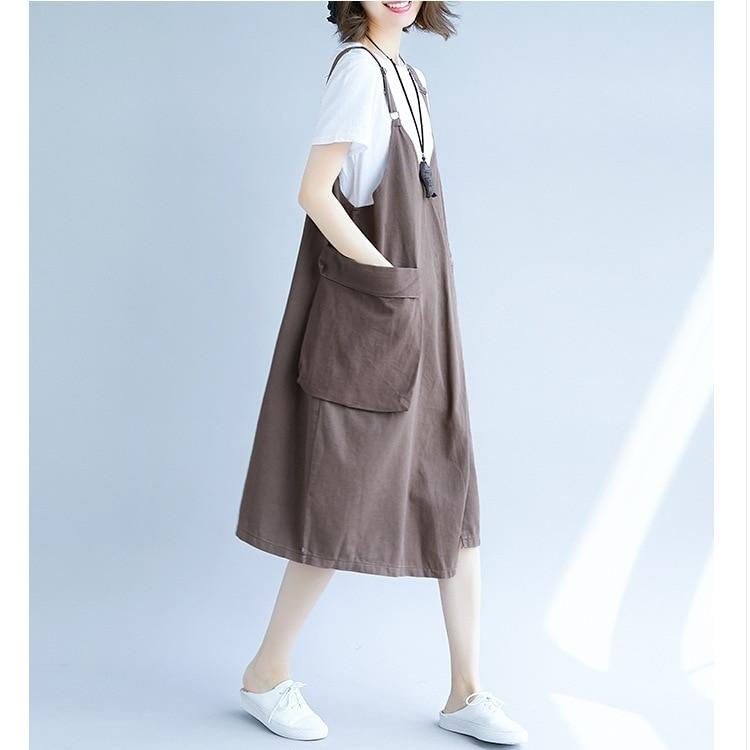 Denim Dress 2019 Summer Style Strap Jeans Dresses Vintage Loose Suspender Denim Sundress Denim Overall Dress in Dresses from Women 39 s Clothing