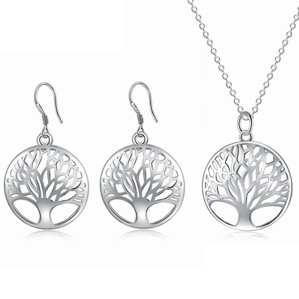 Angemessen Set Ornament Platte Mit Silber Halskette Ohrringe Hochzeit Engagement Schmuck Zubehör Leben Baum Ohrringe Foreo Schmuck