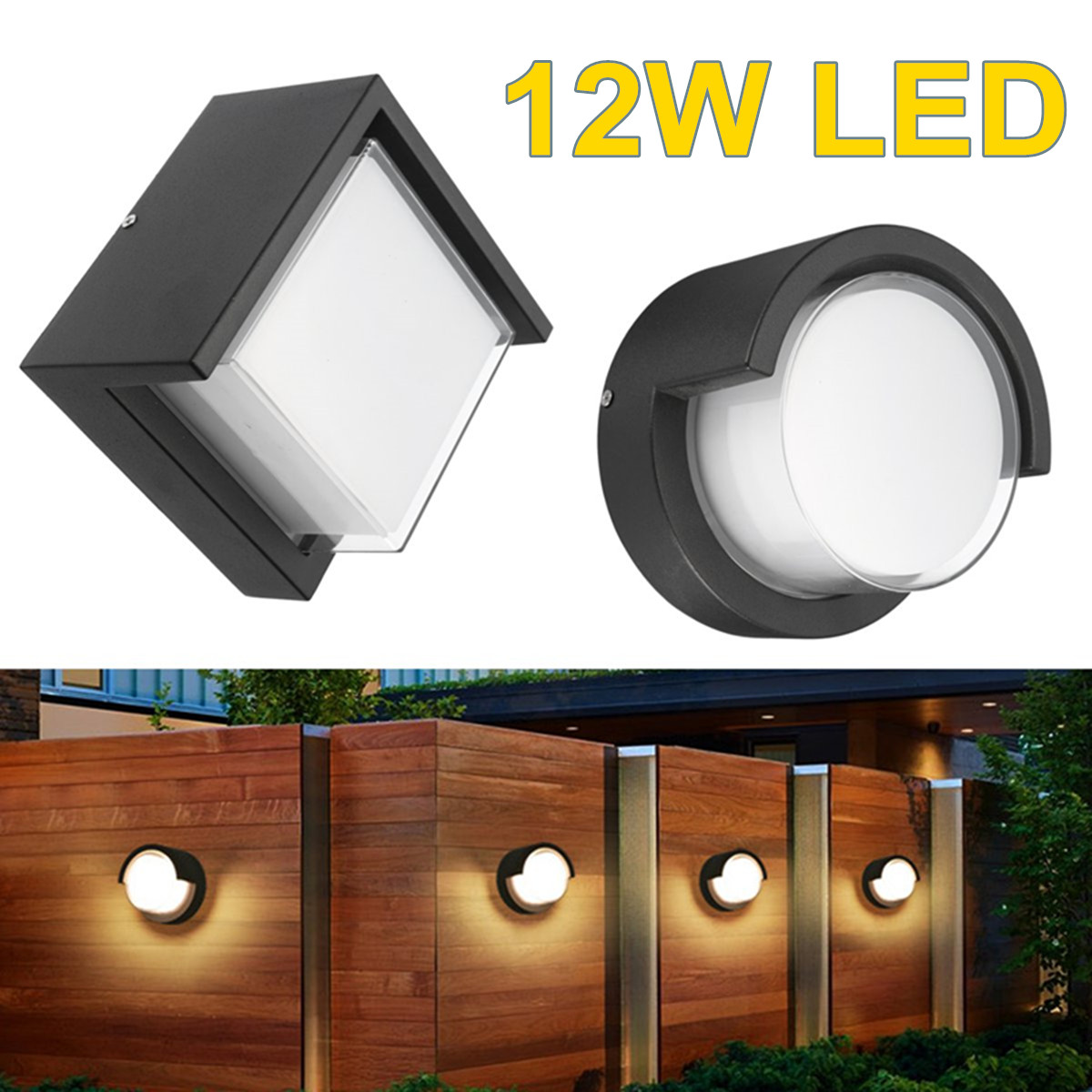 Waterproof Garden Porch Lamp Fixtures 12W LED Wall Light Indoor Outdoor Night Light Round / Square Black Outdoor Lighting