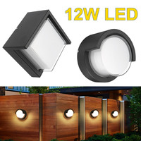 Waterproof Garden Porch Lamp Fixtures 12W LED Wall Light Indoor Outdoor Night Light Round / Square Black Outdoor Lighting