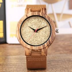 Kreatywny proste złoty analogowy zegarek drewna dla mężczyzn prawdziwe zegar drewniany człowiek prawdziwej skóry top skórzany prezenty pozycja dla mężczyzn reloj masculino