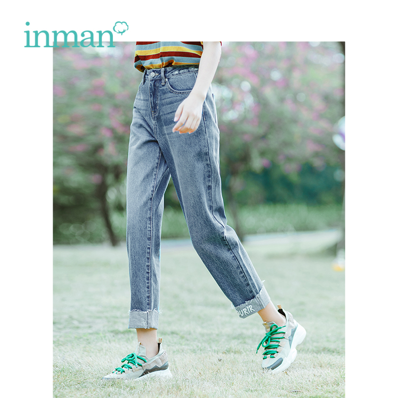 INMAN Autumn Medium High Waist Slim Korean Fashion Casual All Matched Loose Women Jeans