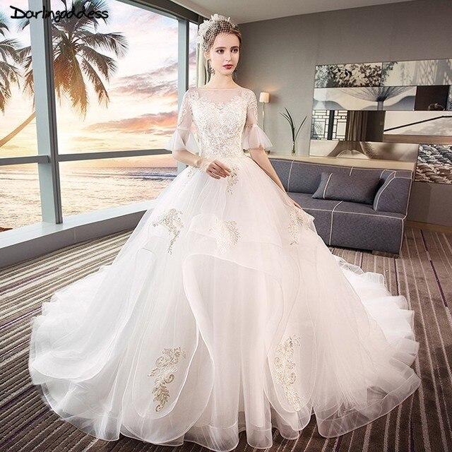 White Wedding Gown Gold: Vintage White Wedding Dresses 2018 Princess Ball Gown