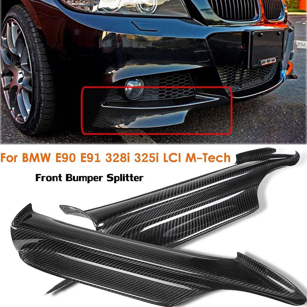 2 pièces De Pare-chocs avant en Fiber de Carbone Séparateur Pour BMW E90 E91 328i 325i LCI M-tech 2005 2006 2007 2008