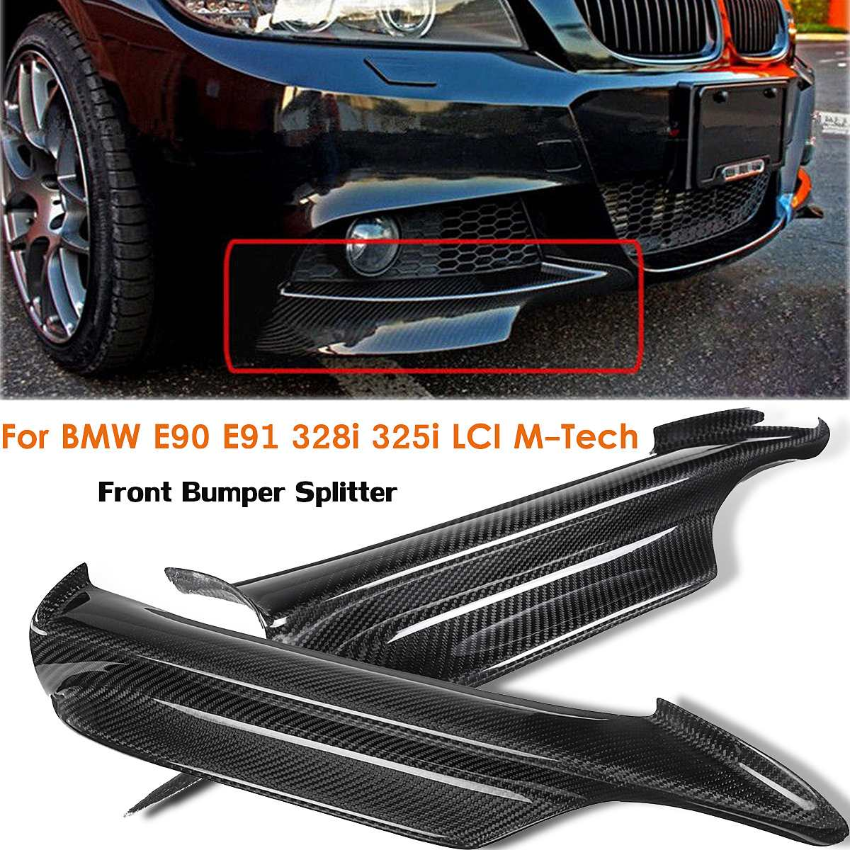2Pcs Carbon Fiber Front Bumper Splitter Lip For BMW E90 E91 328i 325i LCI M-Tech 2005 2006 2007 20082Pcs Carbon Fiber Front Bumper Splitter Lip For BMW E90 E91 328i 325i LCI M-Tech 2005 2006 2007 2008