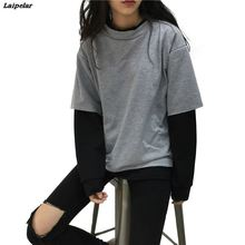 Sweatshirt for women 2018 Autumn Winter Faux 2 Pieces Hoodies O-neck Patchwork Hoody Long Sleeve Pullover Sweatshirts Loose Tops цены онлайн
