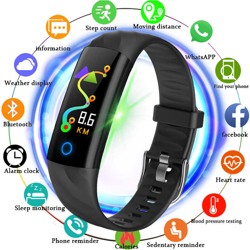 Ini Baru Olahraga Tahan Air Watch Pria Smart Watch Heart Rate Monitor Bblood Tekanan Kebugaran Tracker Pedometer Smart Gelang + Kotak