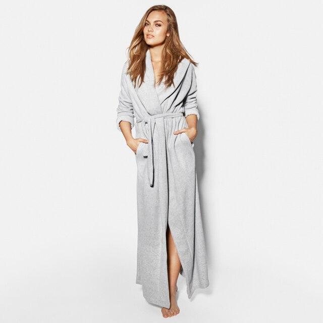 1e8cbdffd7 Female Male Flannel Lapel Bathrobe Women Men European Style Brand Warm  Elegant Dressing gown Winter Long