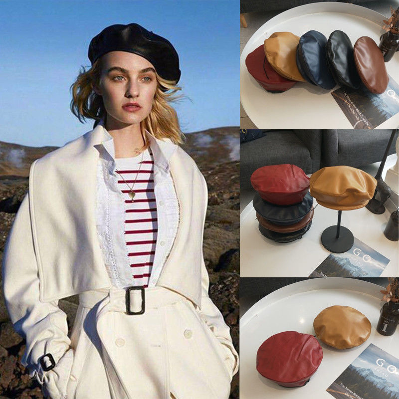 ebf2e9b23aa4f New Beret Cap Fashion Women Casual PU Leather Beret Hat For Women Autumn  Winter Retro Beanie