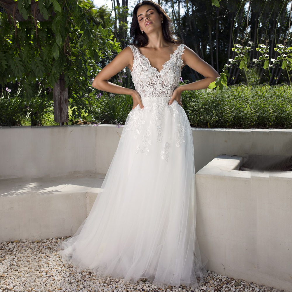 Robe De mariée Boho 2019 col en v sans manches Vestido De Novia a-ligne appliqué robe De mariée De jardin robes De mariée