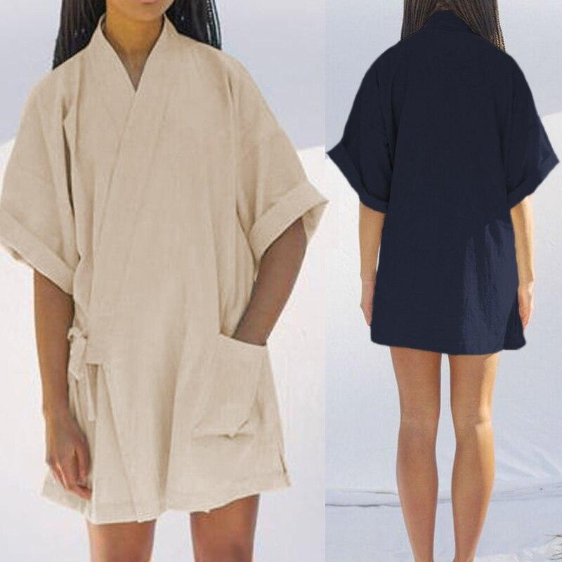 327bb1f58b1 Celmia Women Sexy Mini Dress Kimono Cardigans Sleepwear 2019 Summer V Neck  Nightdress Casual Vintage Cotton