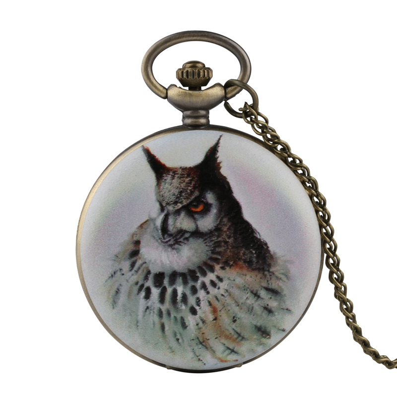 3D Owl Printing Quartz Pocket Watches Analog White Fob Watch Men Hours Clock Necklace Pendant Chain Unisex Gifts For Men Women