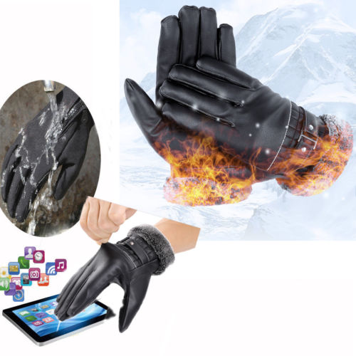 MEN TOUCH SCREEN REAL LEATHER GLOVES THERMAL LINED BLACK DRIVING WINTER GIFT