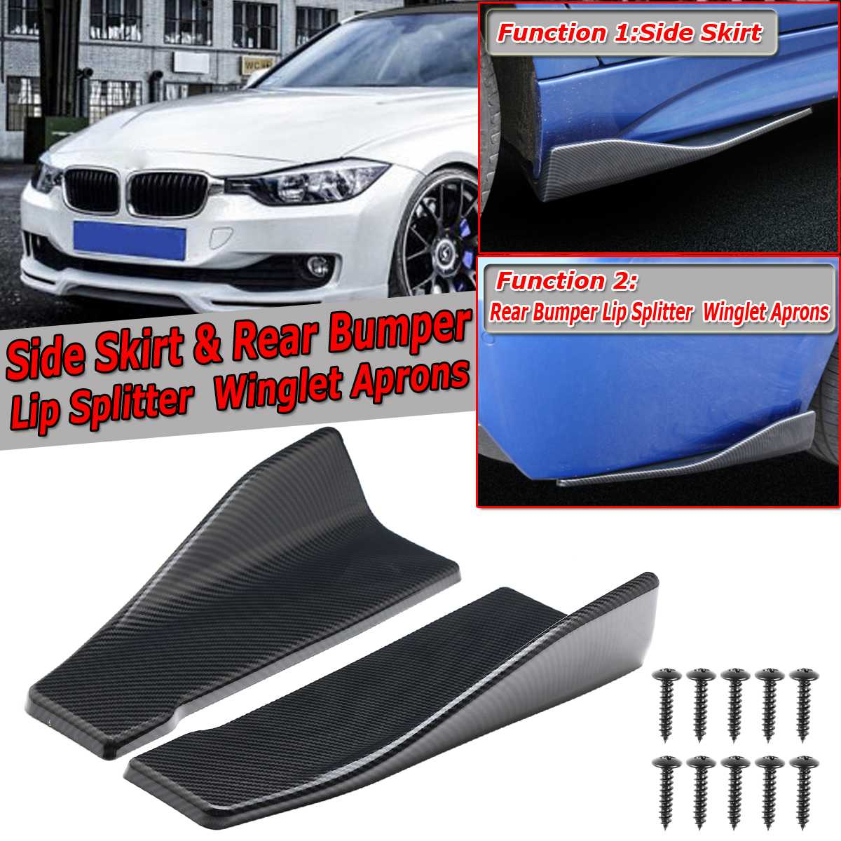 2pcs 35cm/48cm Universal Car Side Skirt & Rear Bumper Diffuser Spoiler Lip Splitter Winglet Aprons Carbon Fiber For Benz For BMW