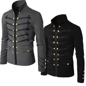 Винтажная Мужская парадная куртка в стиле стимпанк, облегающая Туника черного цвета с длинным рукавом в стиле рок