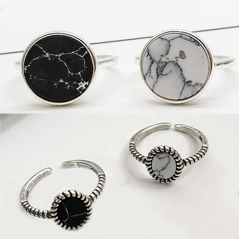 Hot 1PC Circle Silver color Round Marbled Stone Rings For Women Open white Female Ring