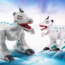 Remote Control Robot Dinosaur with Smoke Effect LED light Sound RC Toys Kids Gifts RC Robots(China)