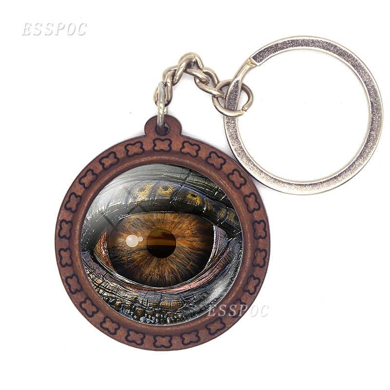 Rồng Cú Mắt Eye Gỗ Keychain Chìa Khóa Xe Chủ Khủng Long Mắt Glass Cabochon Mặt Dây Chuyền Hợp Kim Keychain Móc Chìa Khóa