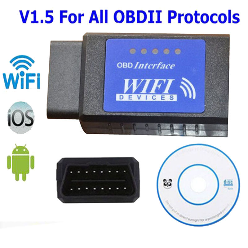 Blue Label <font><b>Elm327</b></font> Wifi Scanner Auto Obd2 Diagnostic Tool Elm 327 <font><b>Wi</b></font> <font><b>Fi</b></font> Obdii Scanner V <font><b>1.5</b></font> Wireless For Both Android Ios Pc image