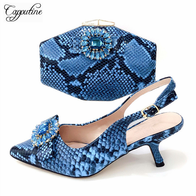 Capputine Summer Simple Woman Shoes And Bag To Match Set Italian Blue Color Spike Heels Shoes And Bag Set For Wedding DressCapputine Summer Simple Woman Shoes And Bag To Match Set Italian Blue Color Spike Heels Shoes And Bag Set For Wedding Dress