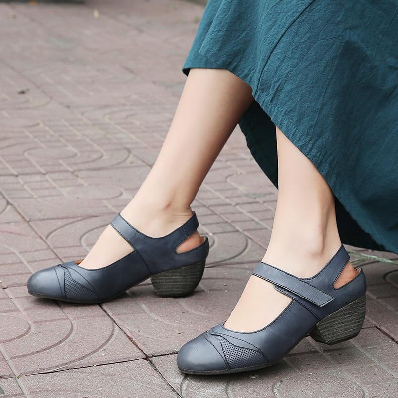 Chaussures Cuir De En Conception 2019 kaki Wedge Baotou Sandales Moyen Talon Femmes D'été Dark Blue Vintage Originale Véritable qBWwRFtt6