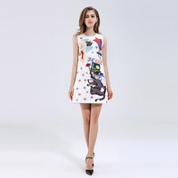 White Summer Dress Young Woman Sleeveless Cat Short Dresses For Women High Qualtily Free Shipping Sweet