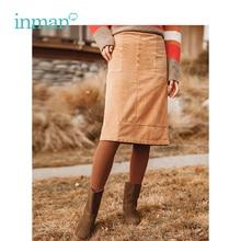 INMAN зимнее Новое поступление средняя талия Ретро стиль элегантная женская модная юбка