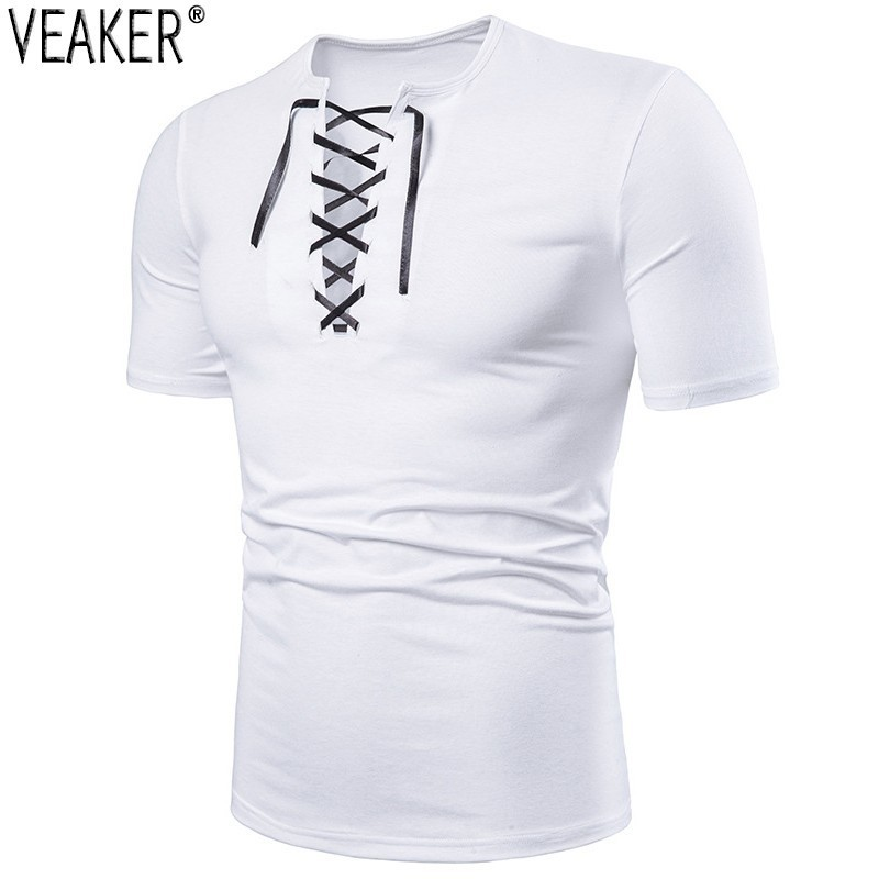 2019 New Men's Sexy V Neck Bandage T Shirt Male Casual Solid T Shirt Sexy Hollow Out White Black Short Sleeve Tshirt Tops S-2XL